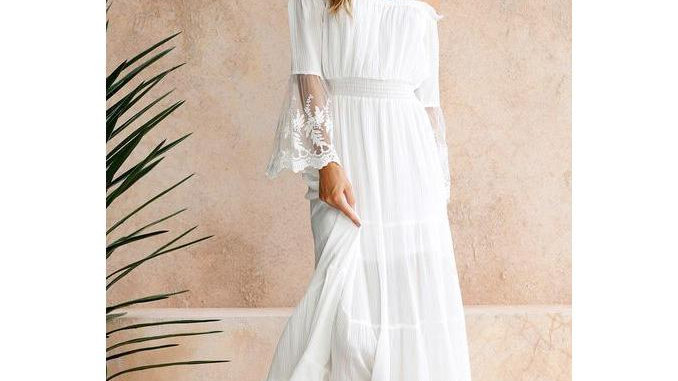 Women Off Shoulder High Waist Bohemian Long Dress
