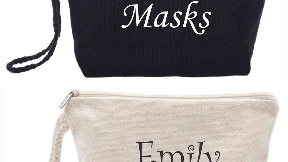 Personalized Gusseted Wristlet Cotton Canvas Pouch