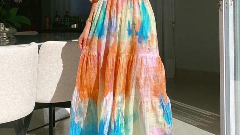 Slash Neck Off Shoulder Tie-dye Printed Long Dress