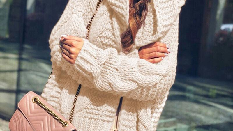 Women Long Sleeve Knitted Sweater Coat