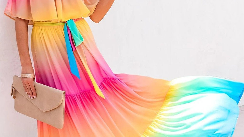 Multi-color Rainbow Skies Off-the-shoulder Tiered Maxi Dress