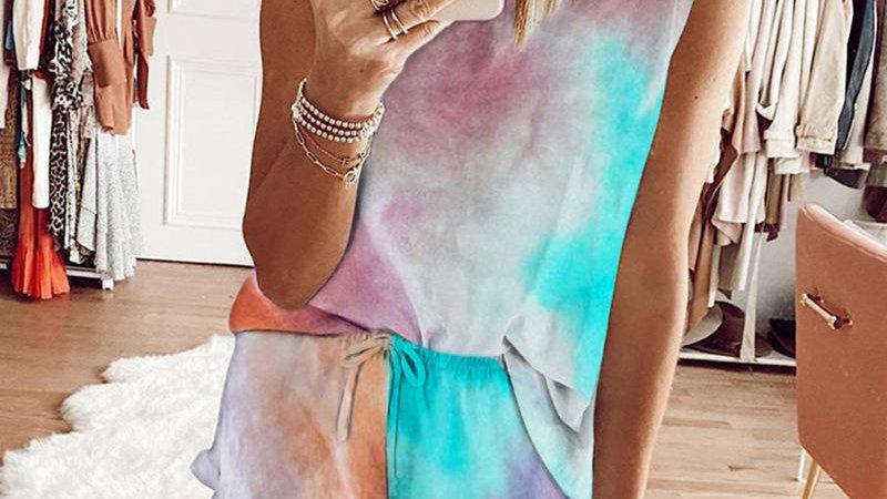 O-neck Sleeveless Tie-dye Top Shorts Pants Set Women Tracksuit