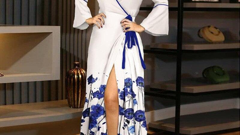 Women Elegant Floral Print Split Maxi Dresses