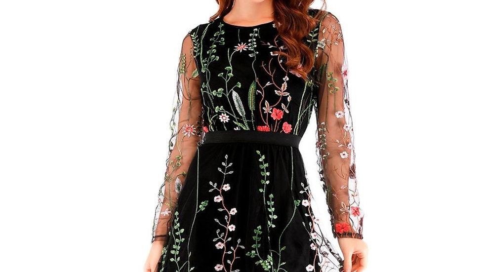 Sheer Mesh Boho Floral Embroidery Dress