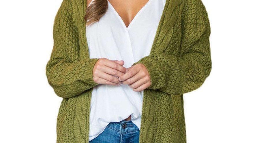 Fashion Army Green Pocket Long Sleeve Cardigan