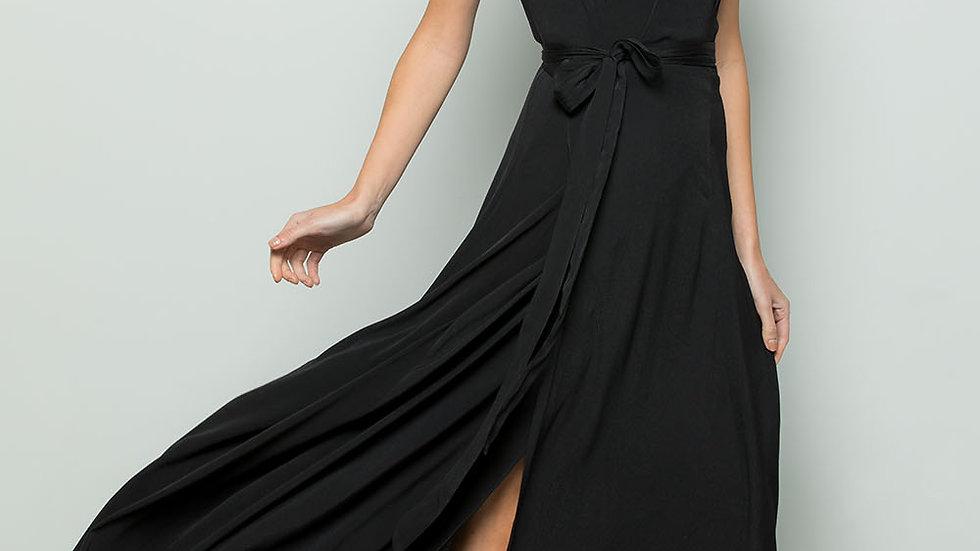 FLOWY MAXI WRAP DRESS - Black