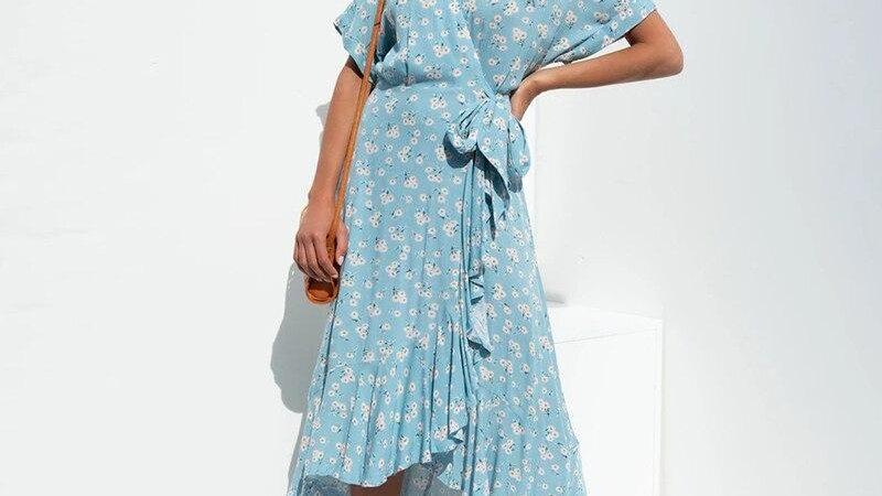 Blue Floral Print Summer Wrap Dress Robe Women Rufflled Boho Maxi Long