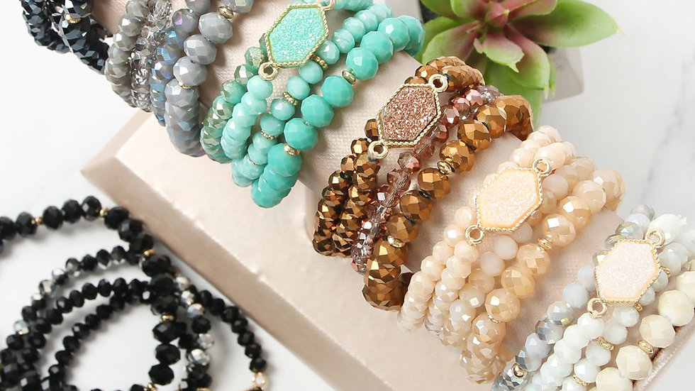 Hdb2227 - Druzy Glass Beads Bracelet Set