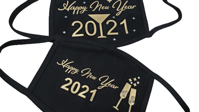Happy New Year Rhinestone Face Mask