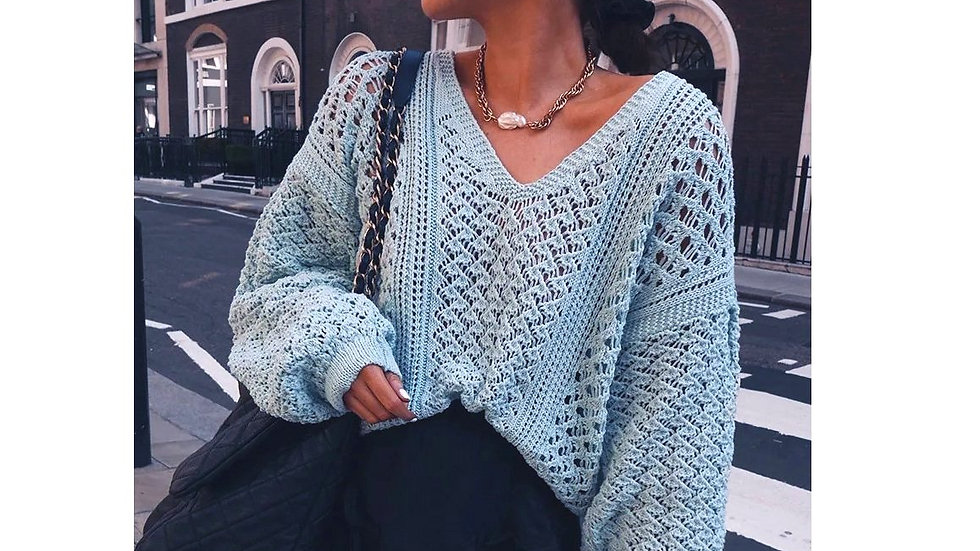 Sexy Hollow V-neck Knitted Pullover Sweater
