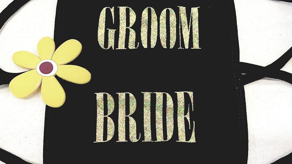 Set of 2 Bride Groom GLITTER Face Mask
