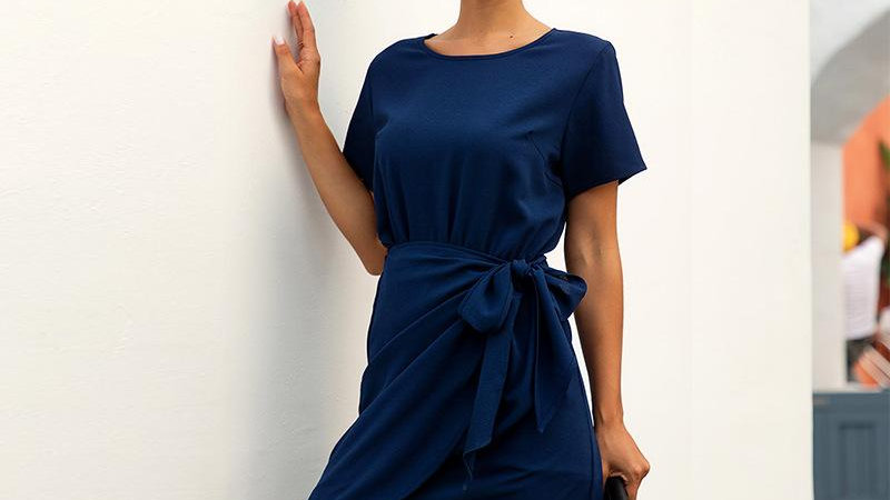 Women O-neck Short Sleeve Summer Dress with Sashes