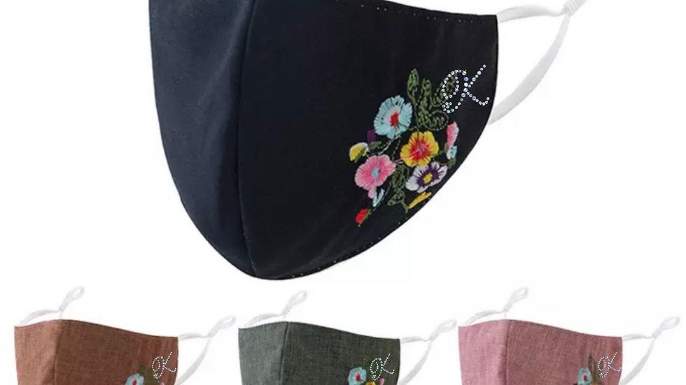 Rhinestone Embroidered Floral Masks