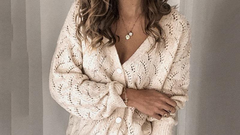 v-neck hollow cardigan coat