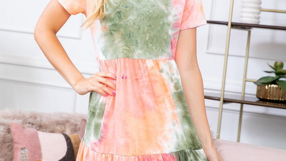Tie Dye Layered Ruffle Dress