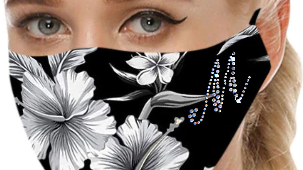 Rhinestone Floral Black and White Masks