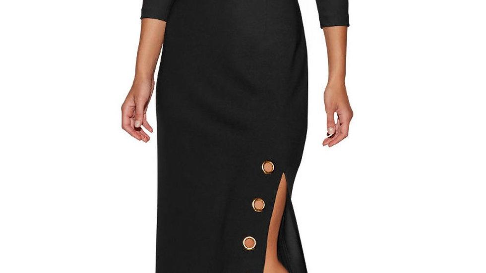 Grommet Side Slit Accent Black Maxi Dress
