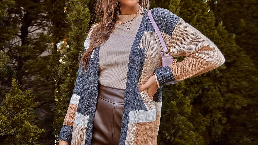 Casual Hit Color Long Sleeve Knitted Sweater Coat