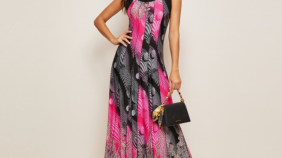 Tribal Print Maxi A-line Dress