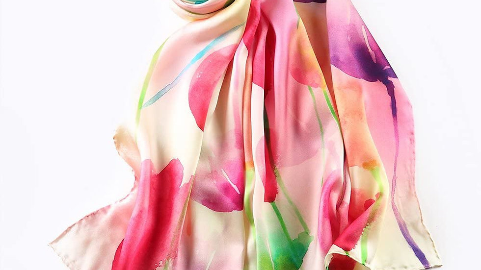 100% Mulberry Silk Scarf-Floral Multi
