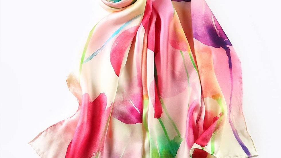 100% Mulberry Silk Scarf-Floral Multi