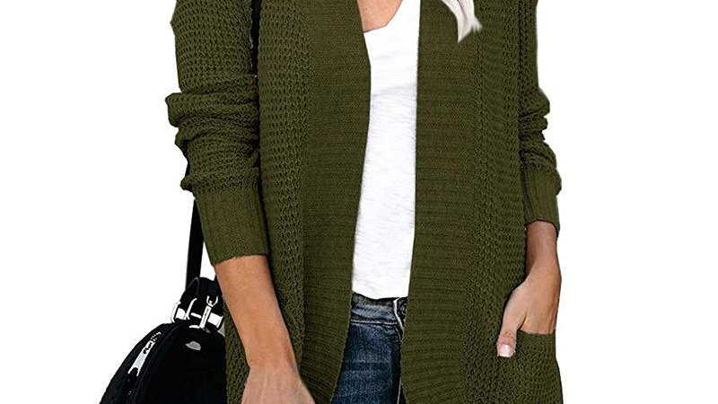 Women Solid Color Knitted Sweater Cardigan Coat