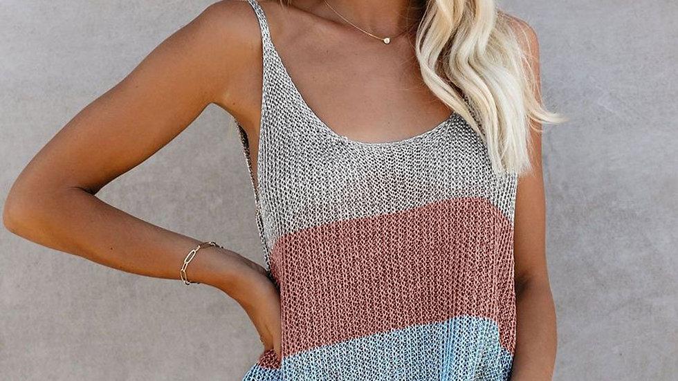 Multicolor Metallic Color Block Knit Cami Tank