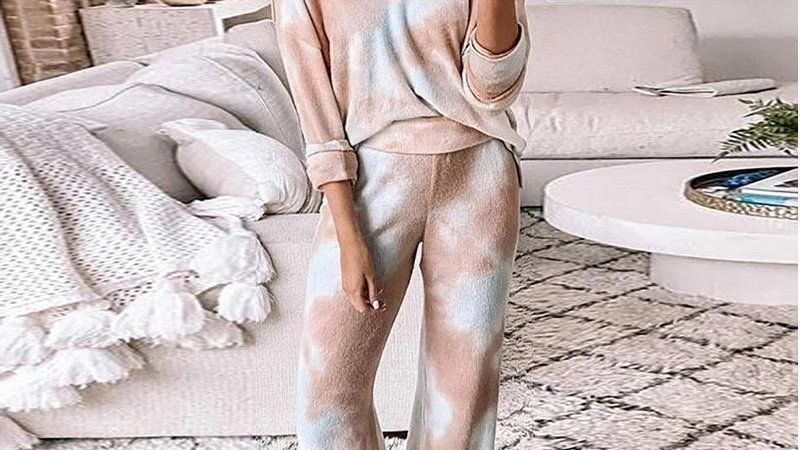 Casual Womens Tie-dye Sets Sleepwear Loose Sportswear Household