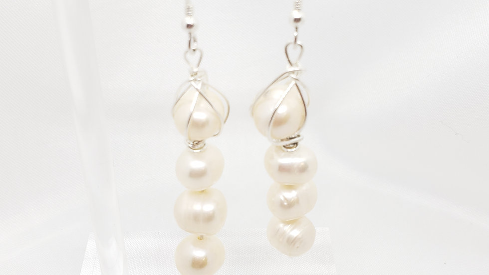 Four Pearl Earrings 925 Sterling Silver