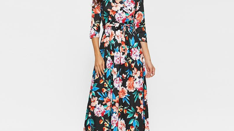 Women Floral Print Maxi Dress Vintage Half Sleeve Elegant Long Dresses