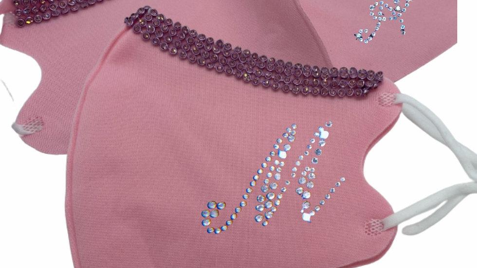 Pink Bling Initial Fashion Masks