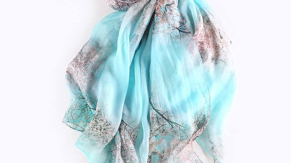 100% Mulberry Silk Scarf-Aqua Floral