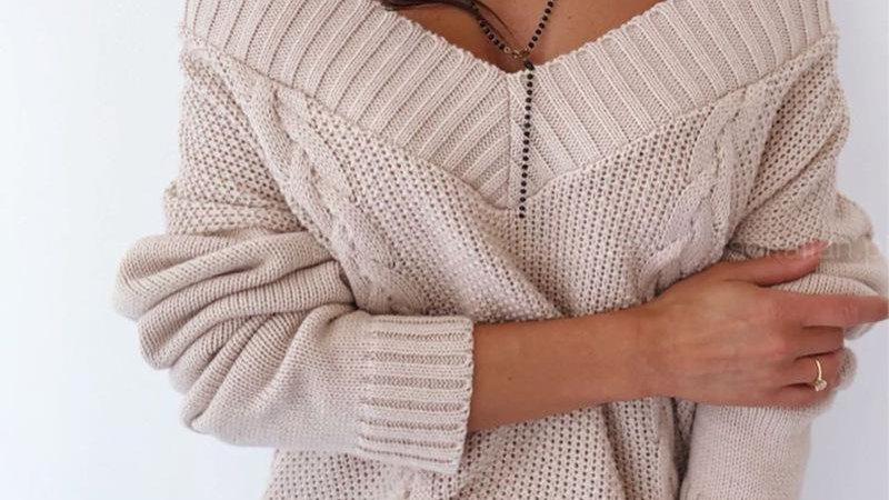 Knit V Neck White Pullover Women Autumn Long Sleeve Basic Casual