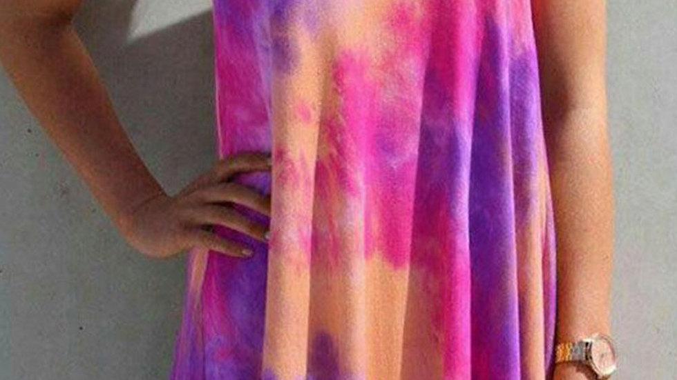 Purple U Neck Tie Dye Printed Sling Sleeveless Swing Casual Dress