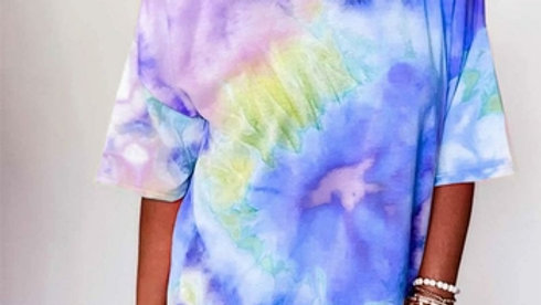 Off Shoulder Tie-dye Printed Short Sleeve Tshirt