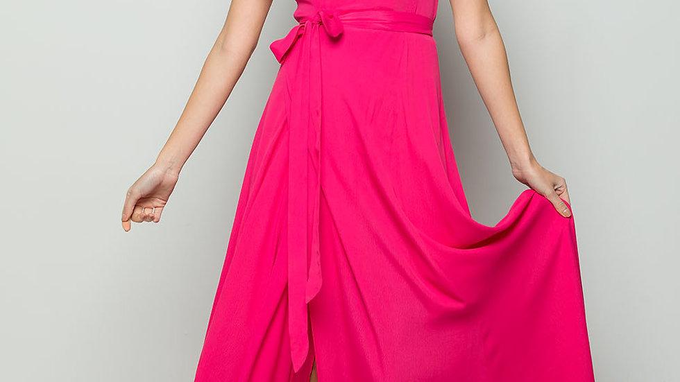 FLOWY MAXI WRAP DRESS - Hot Pink