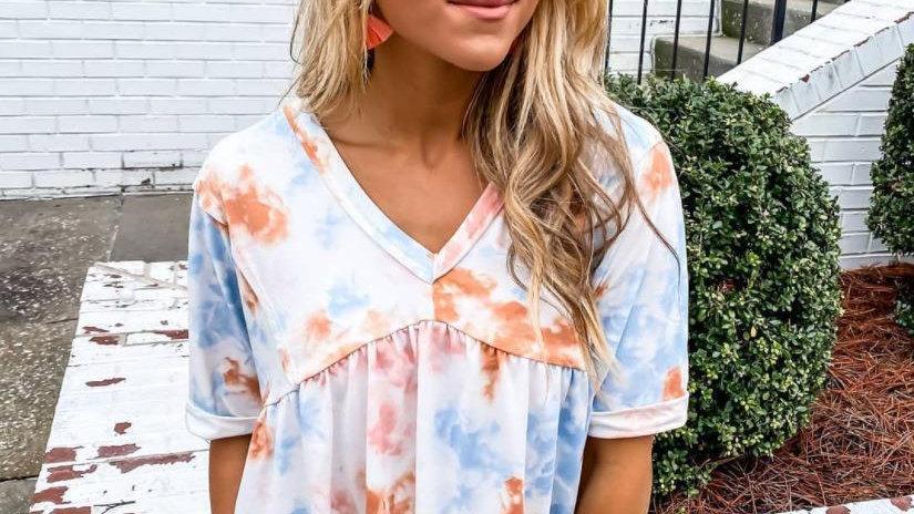 Loose V-neck Tie-dye Ruffle Hem T-shirt