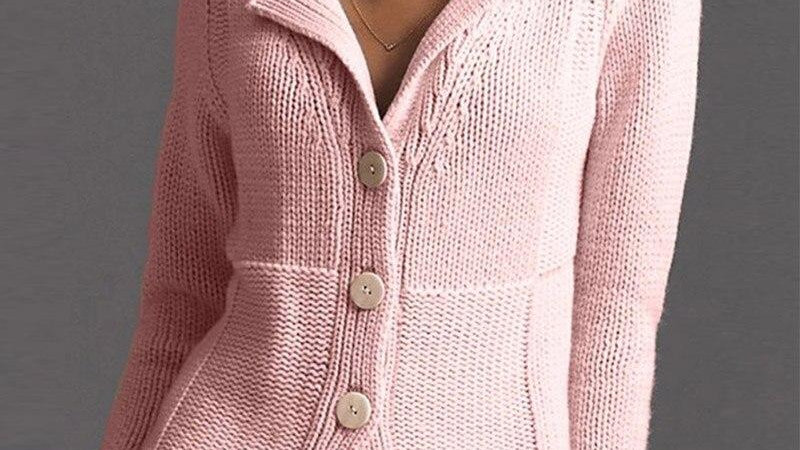 Women Casual Solid Button Cardigan