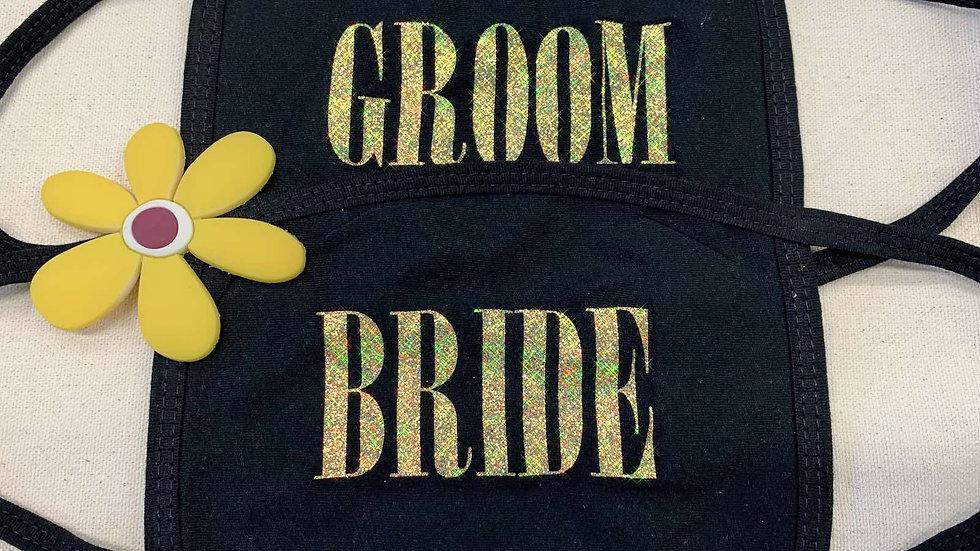 Set of 2 Custom Bride Groom GLITTER Face Mask