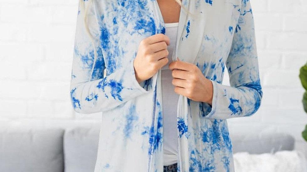 Blue Tie Dye Lightweight Cardigan