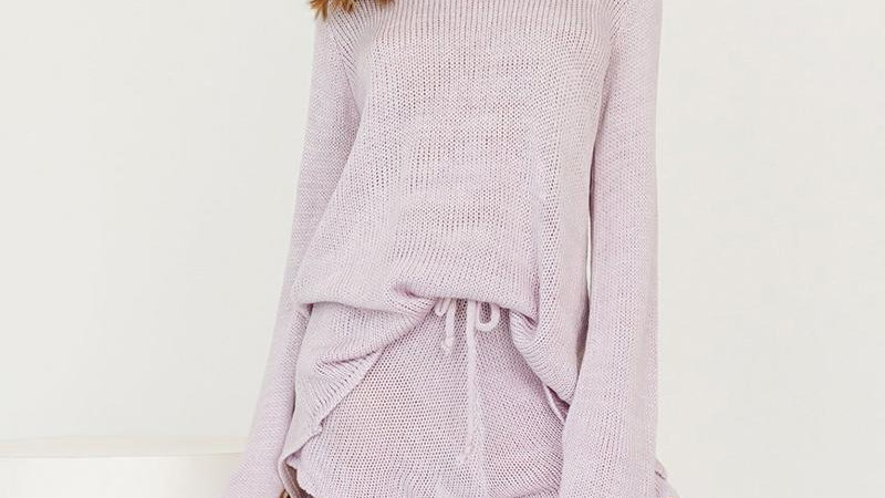 Knitted Long Sleeve Back Tie Oversized Sweaters Hight Waist Shorts