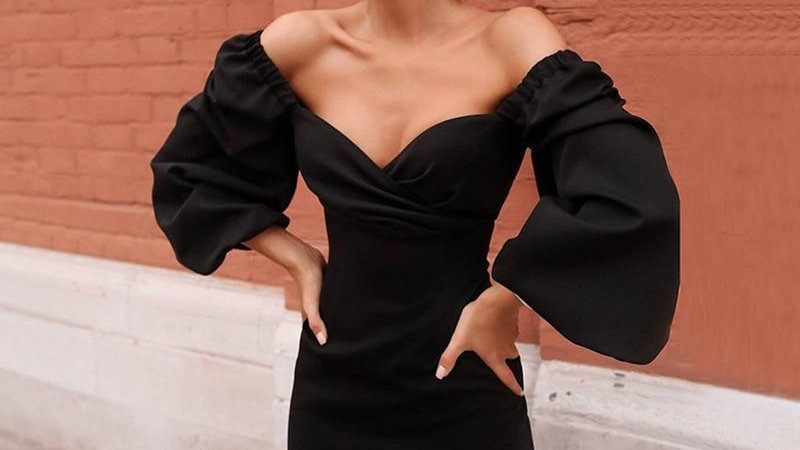 Women Lantern Sleeve Sexy Bodycon Midi Dress
