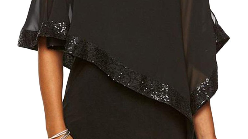 Chic Black Sequined Poncho Mini Dress