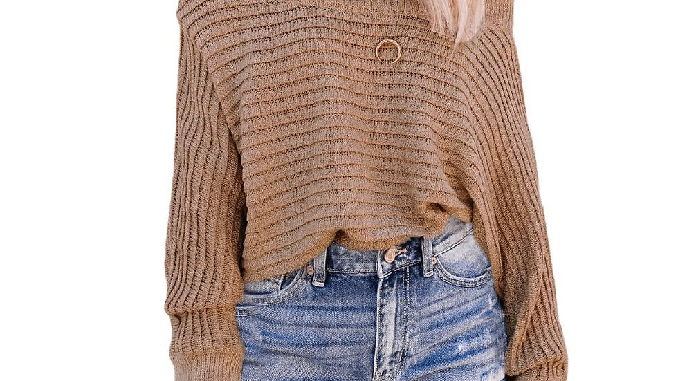 Solid Color Off Shoulder Pullover Knitted Sweater