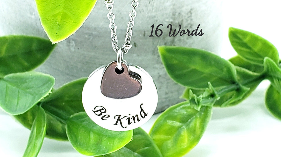 Word Necklace With Heart Charm