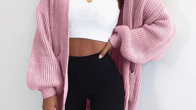 Solid Color Knitted Sweater Cardigan