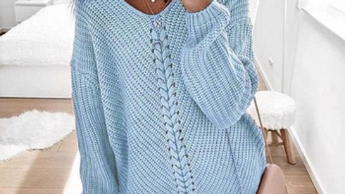 Women Patchwork Knitted Pullover Sweater