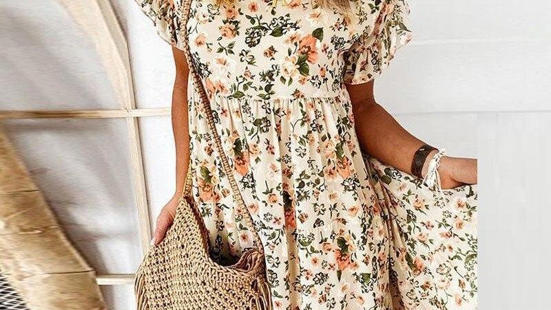 Floral Print Ruffle Women Summer Butterfly Short Sleeve Party Dress