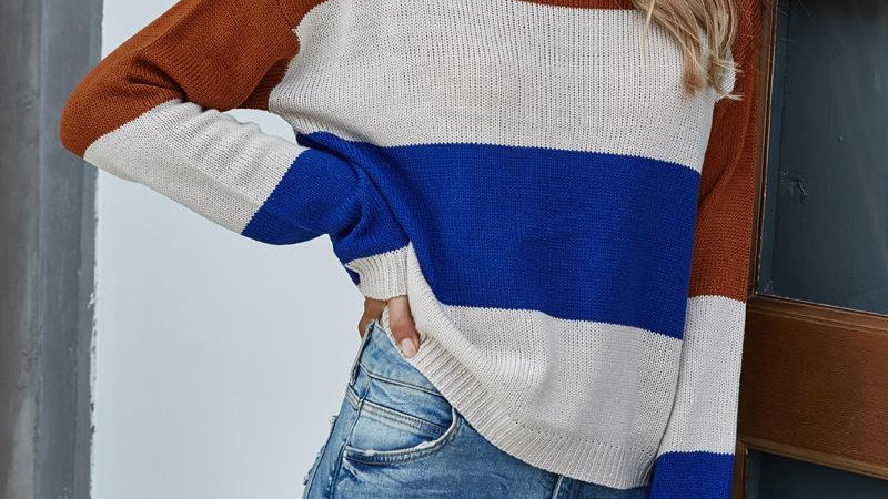 High Neck Patchwork Knitted Sweater Pullover