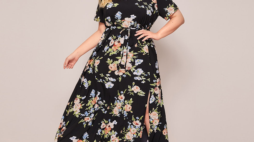 Plus Floral Print Split Thigh Belted A-line Dress